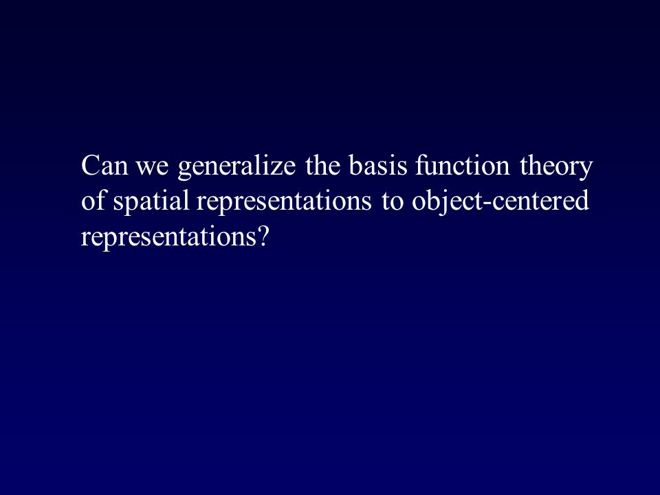 Can we generalize the basis function theory of spatial representations to object-centered representations
