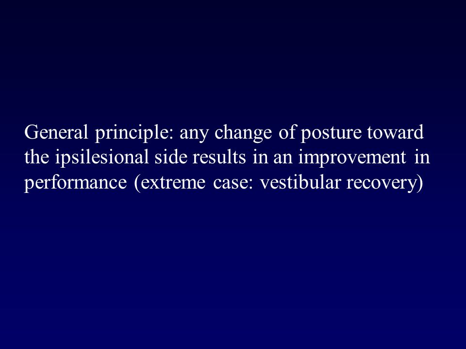 General principle: any change of posture toward the ipsilesional side results in an improvement in performance (extreme case: vestibular recovery)