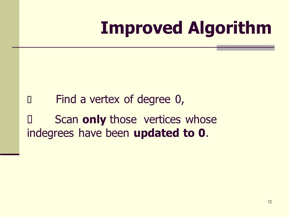 Improved Algorithm ü Find a vertex of degree 0, ü Scan only those vertices whose indegrees have been updated to 0.
