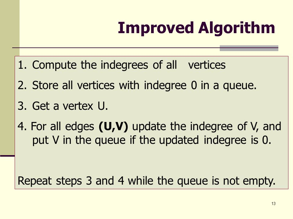Improved Algorithm Compute the indegrees of all vertices