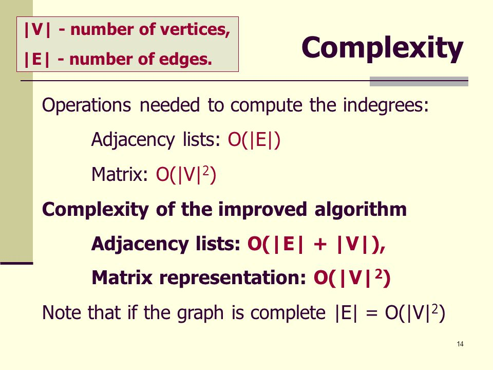Complexity Operations needed to compute the indegrees: