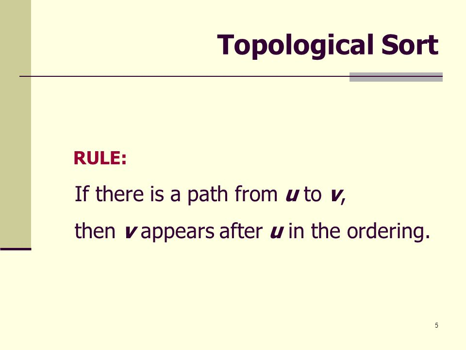Topological Sort If there is a path from u to v,