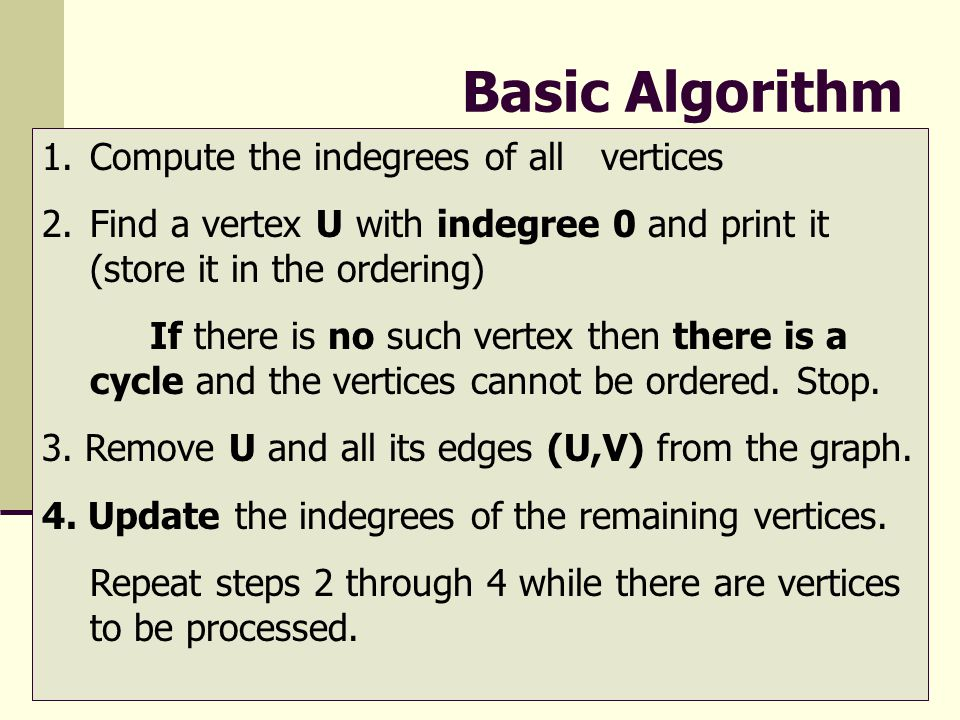 Basic Algorithm Compute the indegrees of all vertices