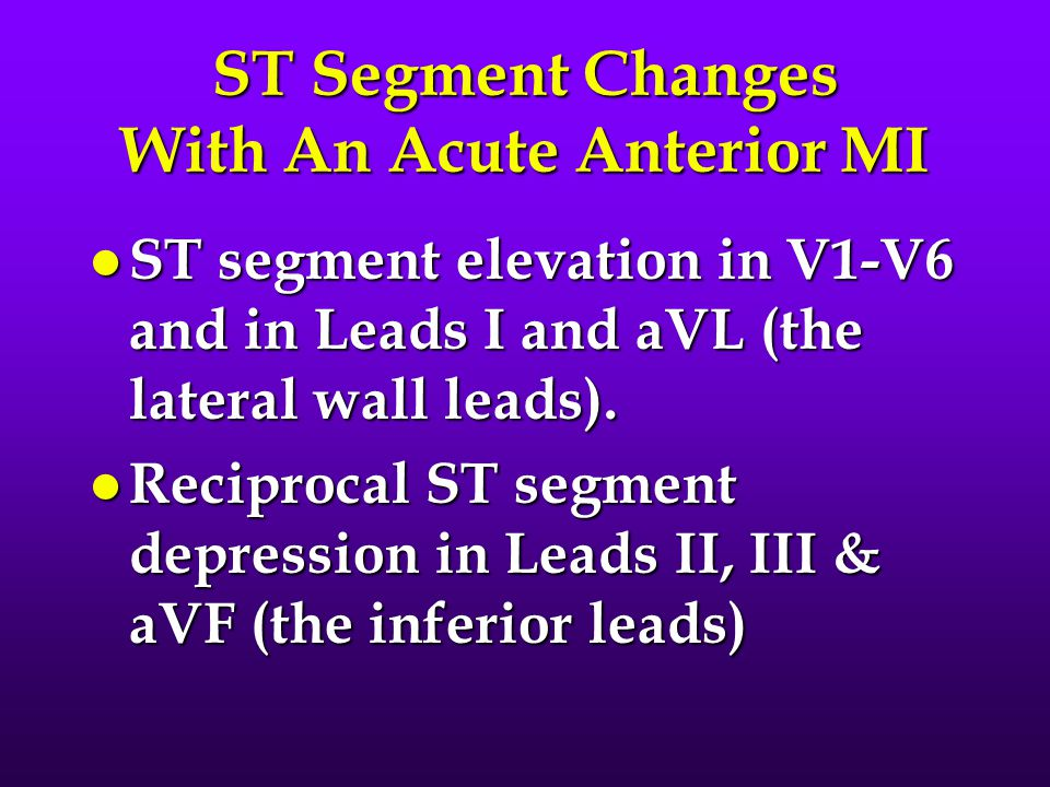 ST Segment Changes With An Acute Anterior MI