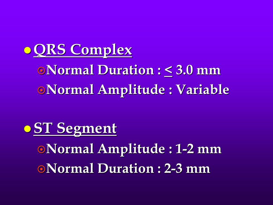 QRS Complex ST Segment Normal Duration : < 3.0 mm