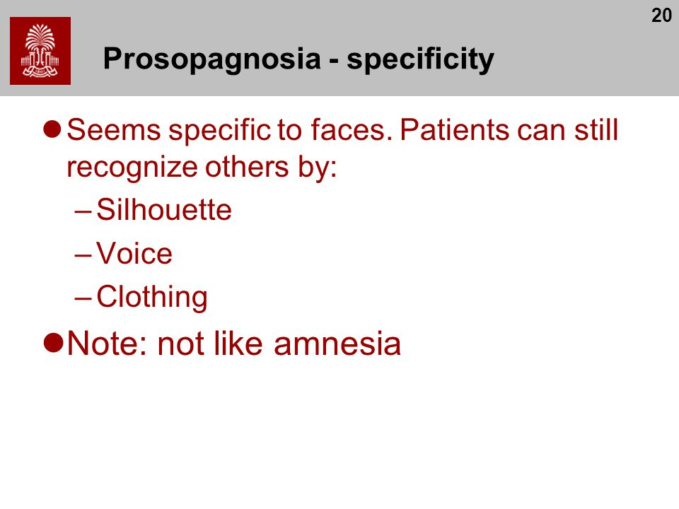 Prosopagnosia - specificity