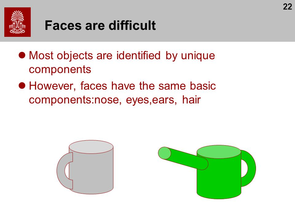 Faces are difficult Most objects are identified by unique components