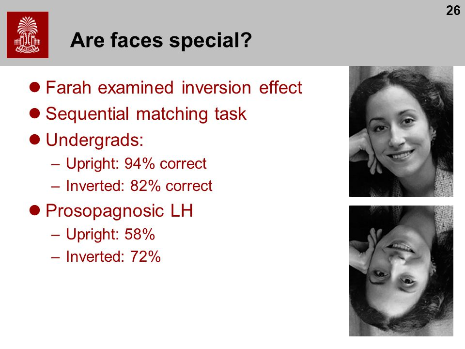 Are faces special Farah examined inversion effect
