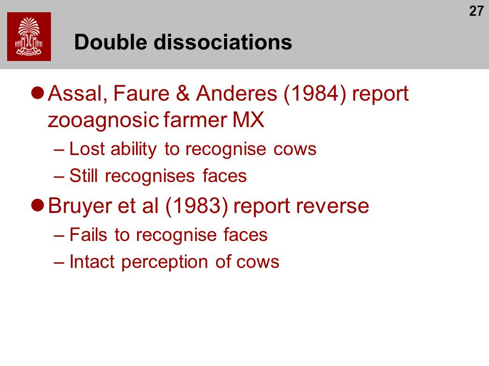 Assal, Faure & Anderes (1984) report zooagnosic farmer MX