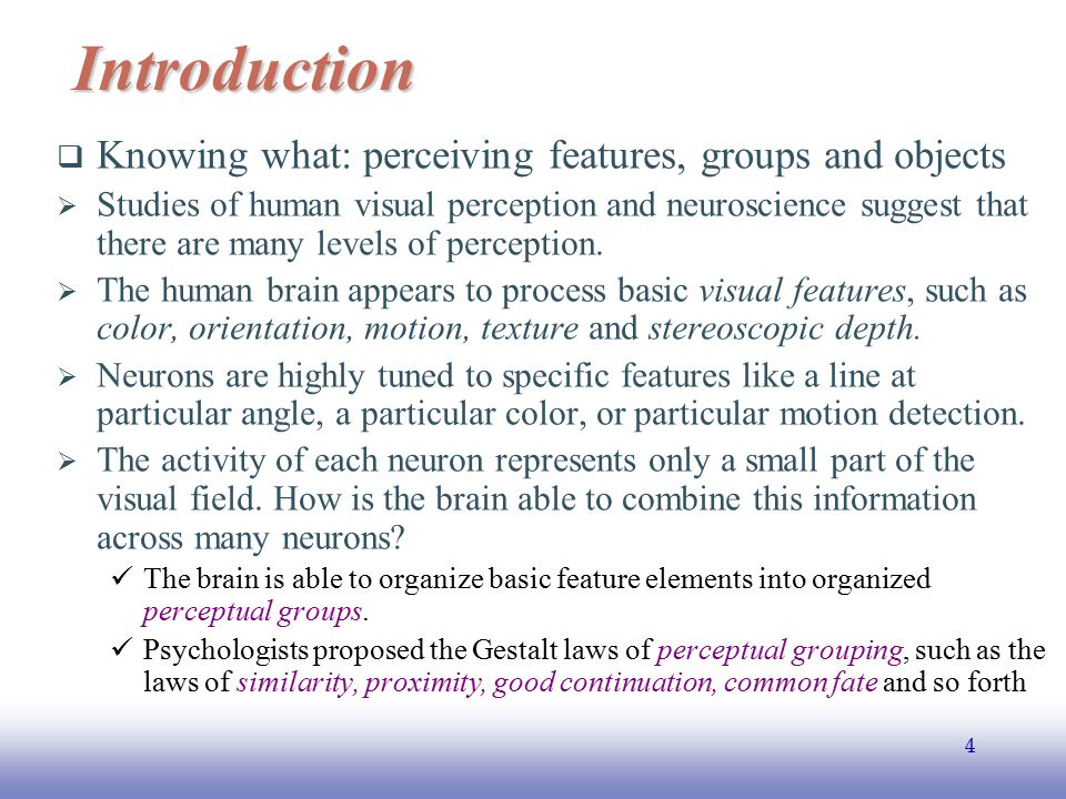 Introduction Knowing what: perceiving features, groups and objects