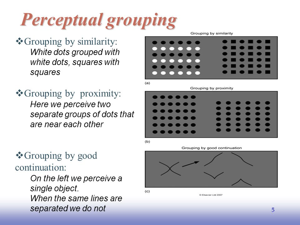 Perceptual grouping Grouping by similarity: Grouping by proximity: