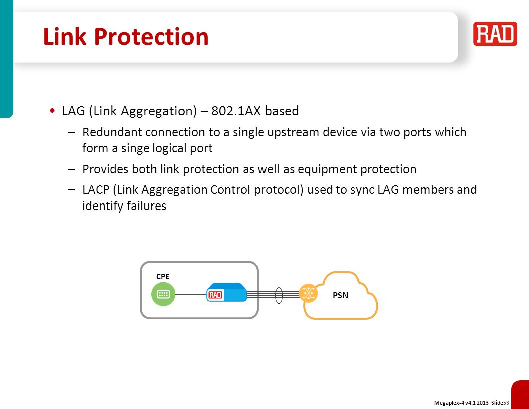 Link Protection LAG (Link Aggregation) – 802.1AX based