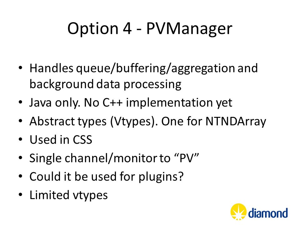 Option 4 - PVManager Handles queue/buffering/aggregation and background data processing. Java only. No C++ implementation yet.