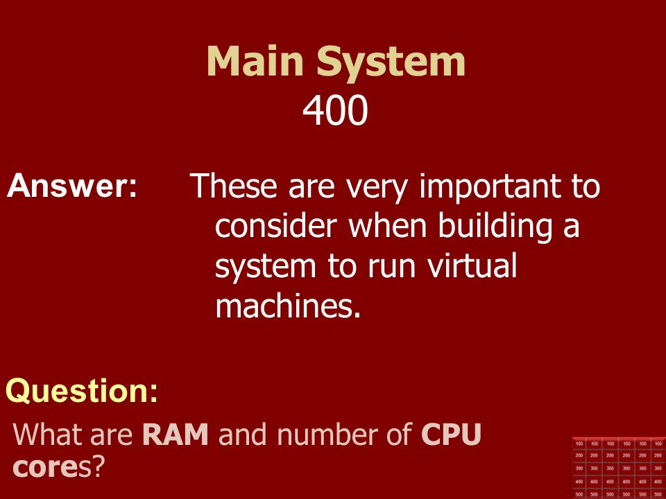 Main System 400 These are very important to consider when building a system to run virtual machines.