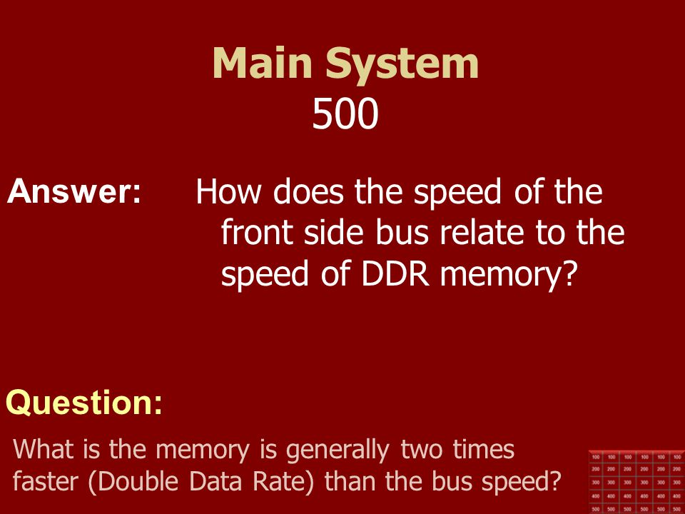 Main System 500 How does the speed of the front side bus relate to the speed of DDR memory