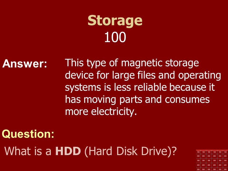 Storage 100 What is a HDD (Hard Disk Drive)
