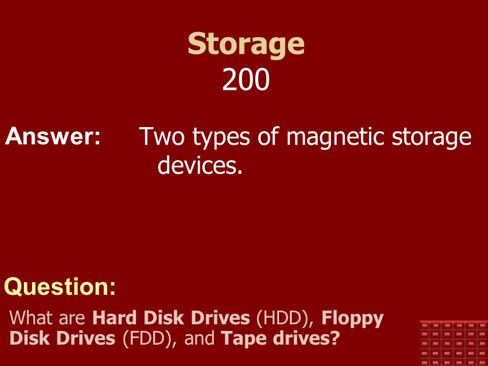 Storage 200 Two types of magnetic storage devices.