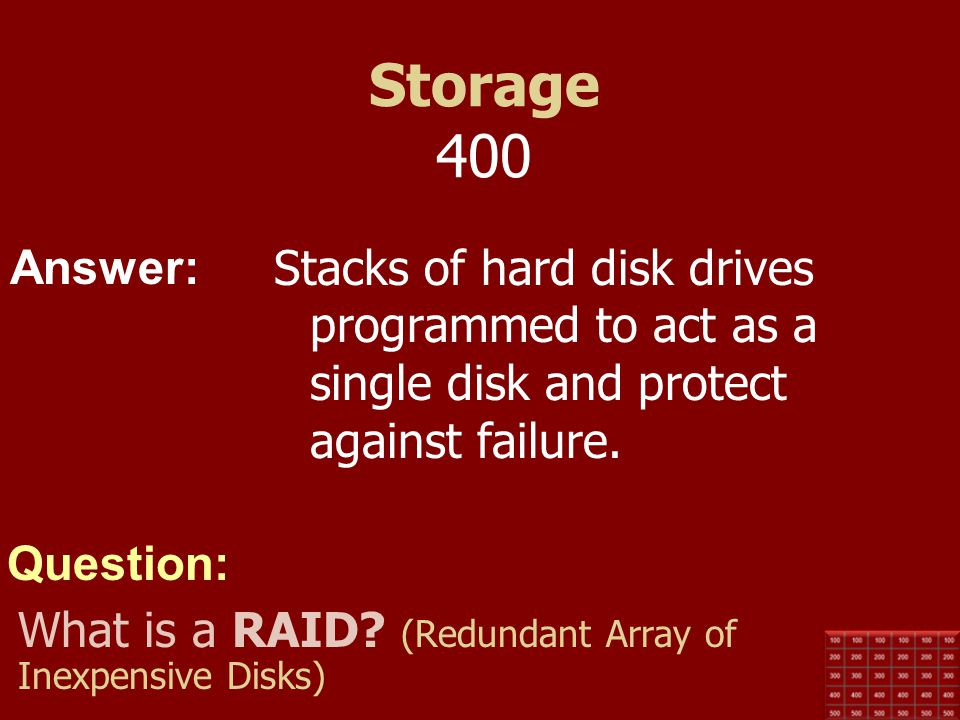 Storage 400 Stacks of hard disk drives programmed to act as a single disk and protect against failure.