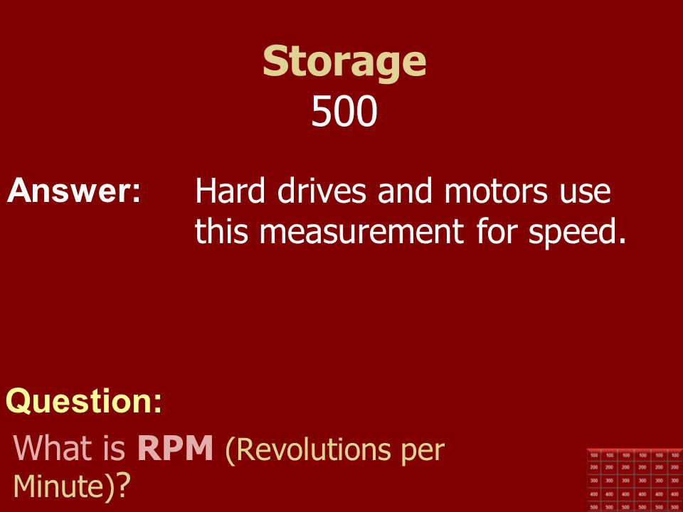 Storage 500 Hard drives and motors use this measurement for speed.