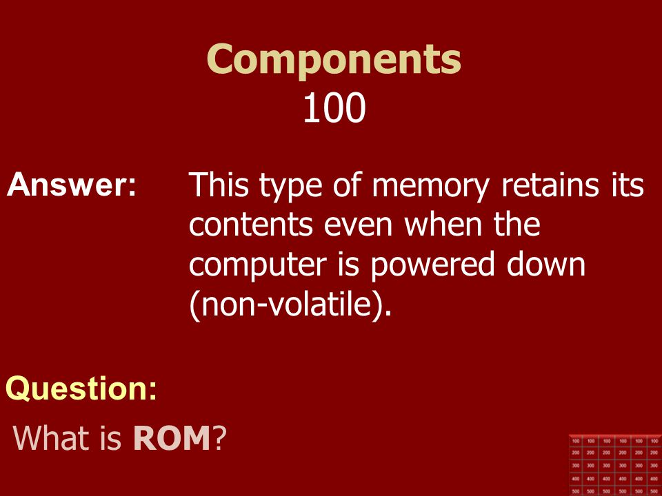 Components 100 This type of memory retains its contents even when the computer is powered down (non-volatile).
