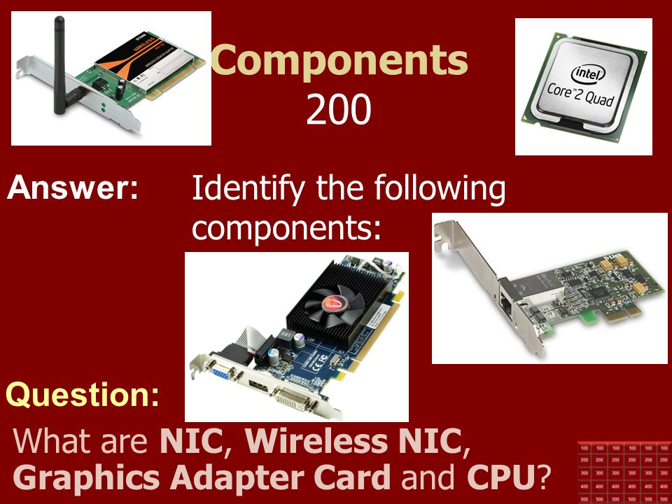 Components 200 Identify the following components: