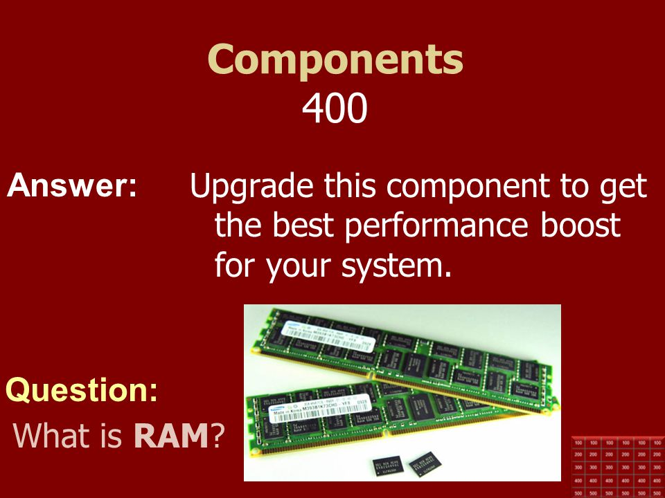 Components 400 Upgrade this component to get the best performance boost for your system.