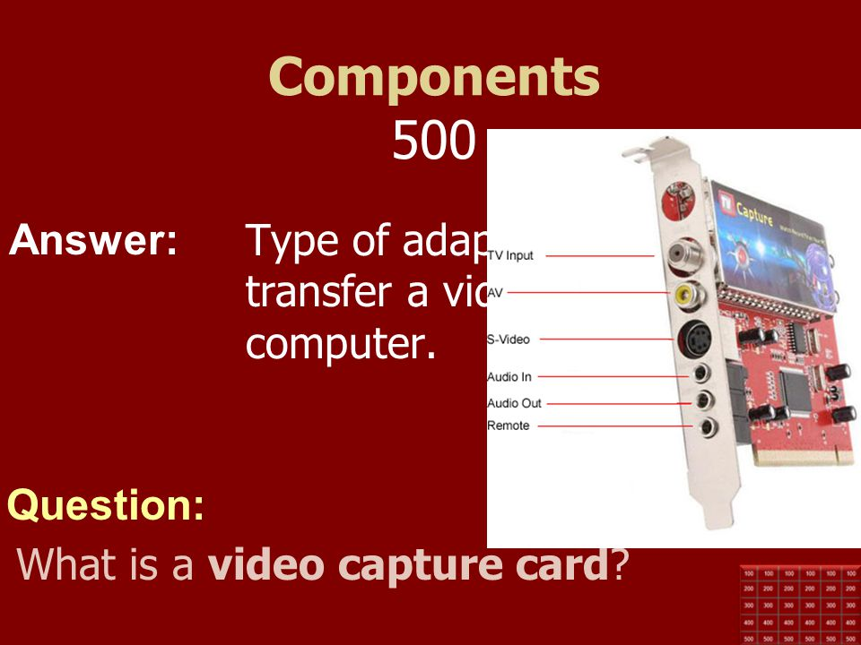 Components 500 Type of adaptor card used to transfer a video signal to a computer.
