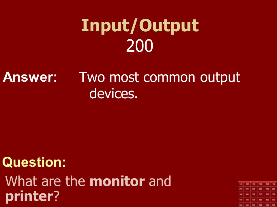 Input/Output 200 Two most common output devices.