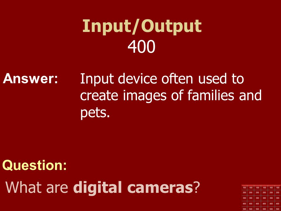 Input/Output 400 What are digital cameras