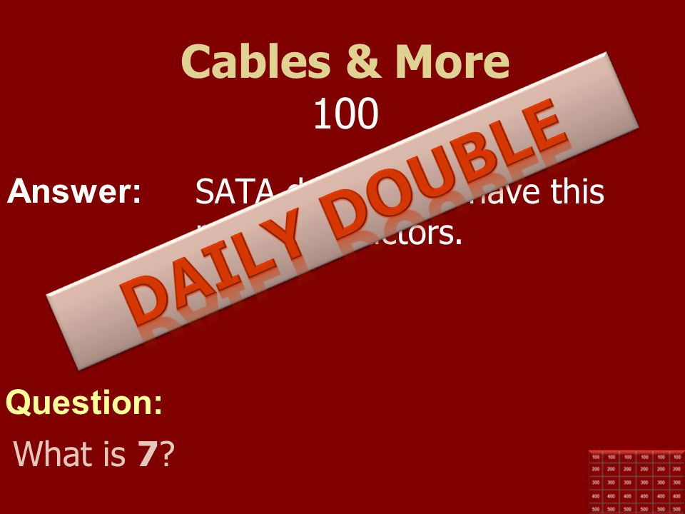 Daily Double Cables & More 100
