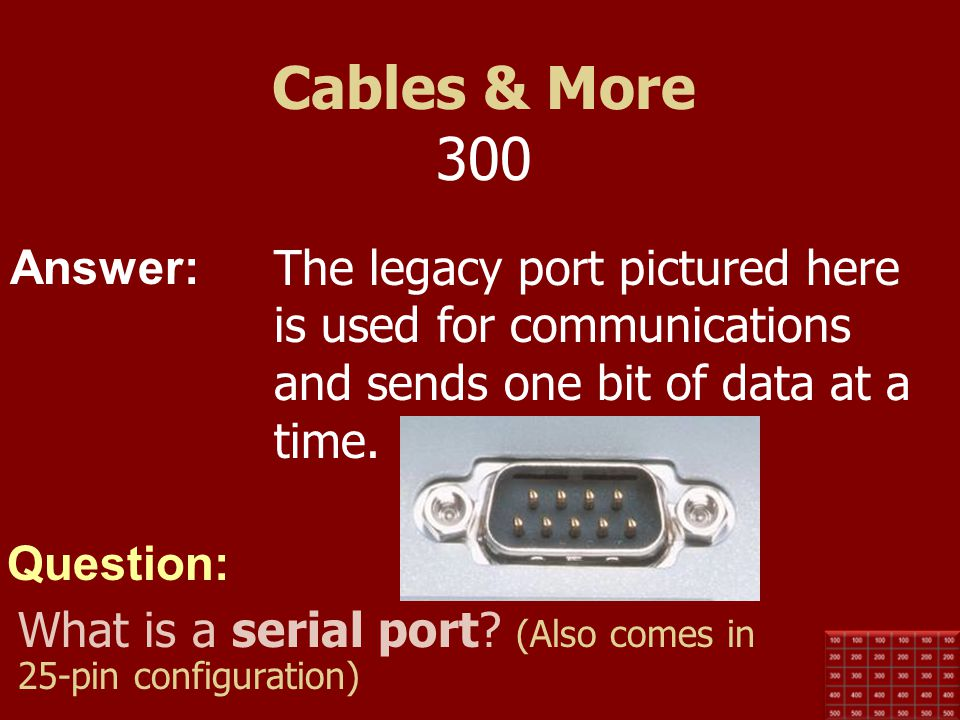 Cables & More 300 The legacy port pictured here is used for communications and sends one bit of data at a time.