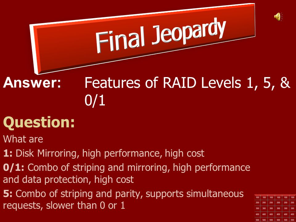 Final Jeopardy Features of RAID Levels 1, 5, & 0/1 Question: What are