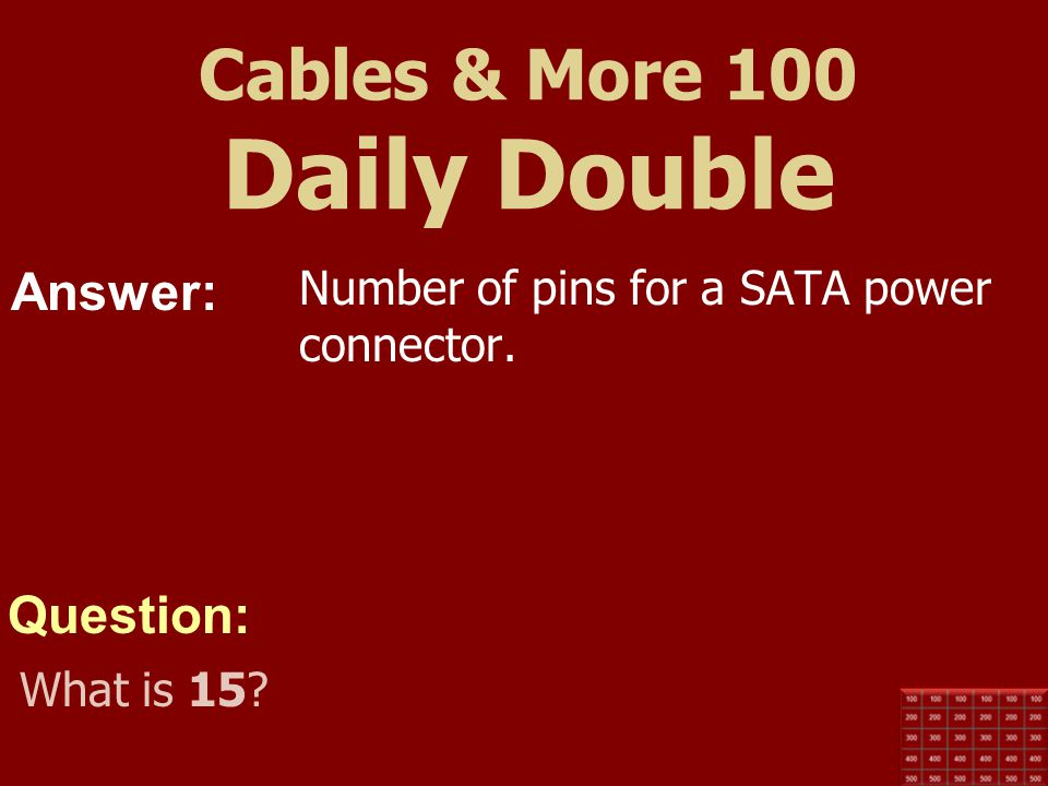 Cables & More 100 Daily Double