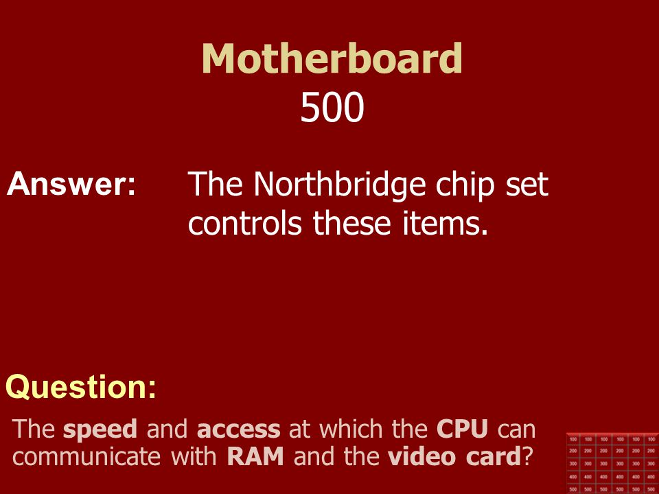 Motherboard 500 The Northbridge chip set controls these items.