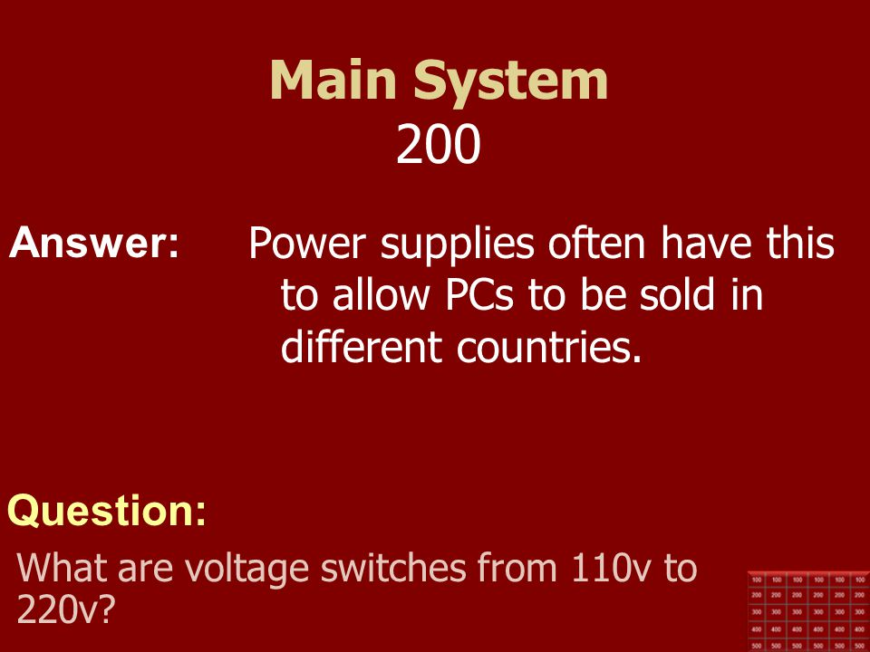 Main System 200 Power supplies often have this to allow PCs to be sold in different countries.
