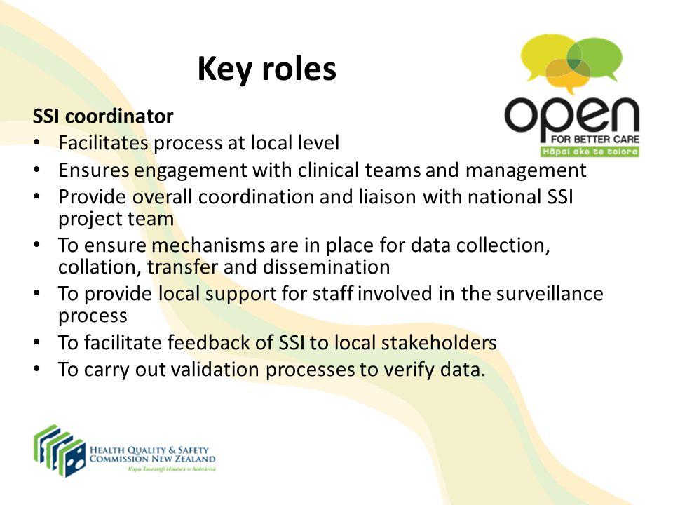 Key roles SSI coordinator Facilitates process at local level