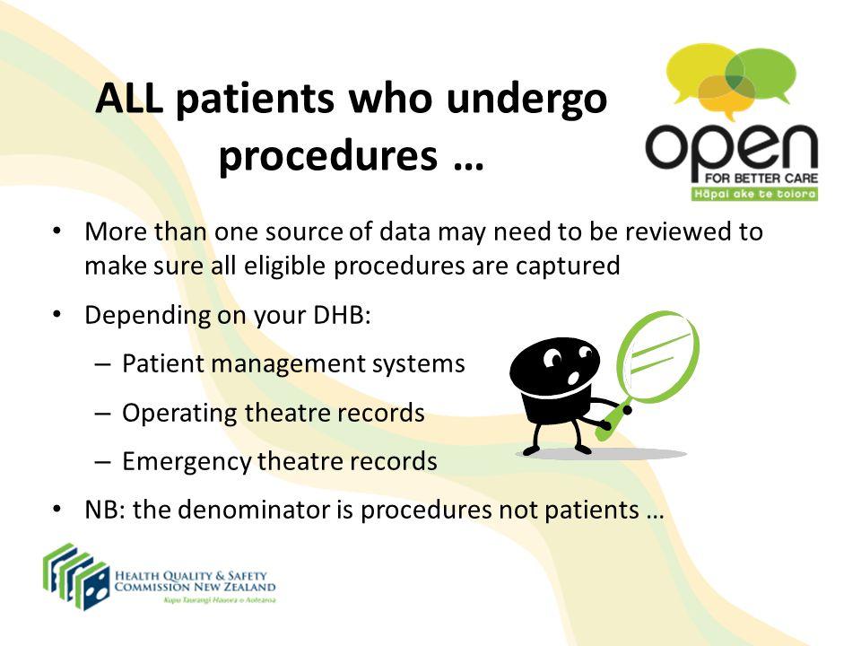 ALL patients who undergo procedures …