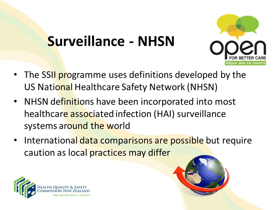 Surveillance - NHSN The SSII programme uses definitions developed by the US National Healthcare Safety Network (NHSN)