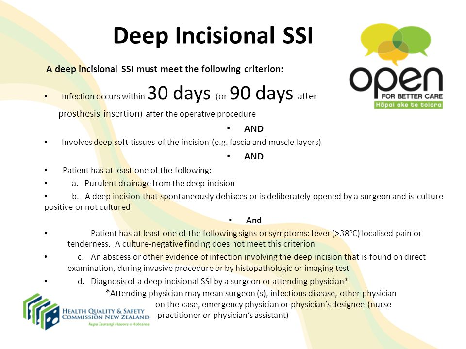Deep Incisional SSI A deep incisional SSI must meet the following criterion: Infection occurs within 30 days (or 90 days after.