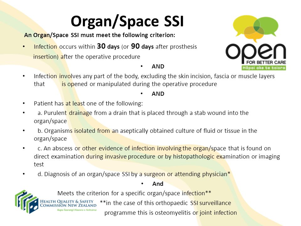 Organ/Space SSI An Organ/Space SSI must meet the following criterion: Infection occurs within 30 days (or 90 days after prosthesis.
