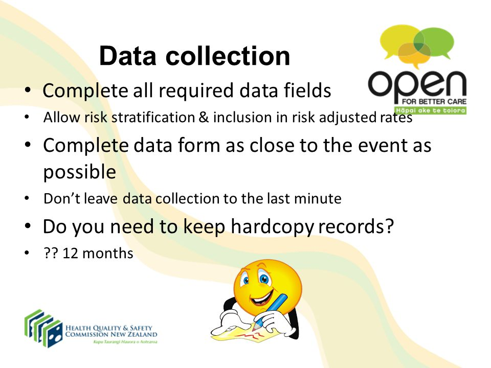 Data collection Complete all required data fields