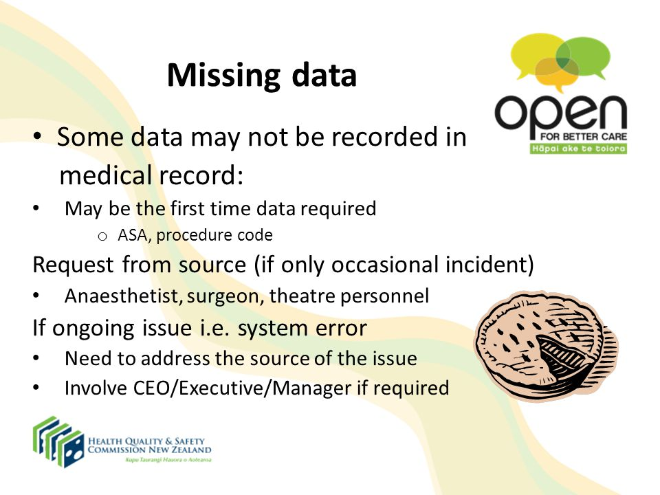 Missing data Some data may not be recorded in medical record: