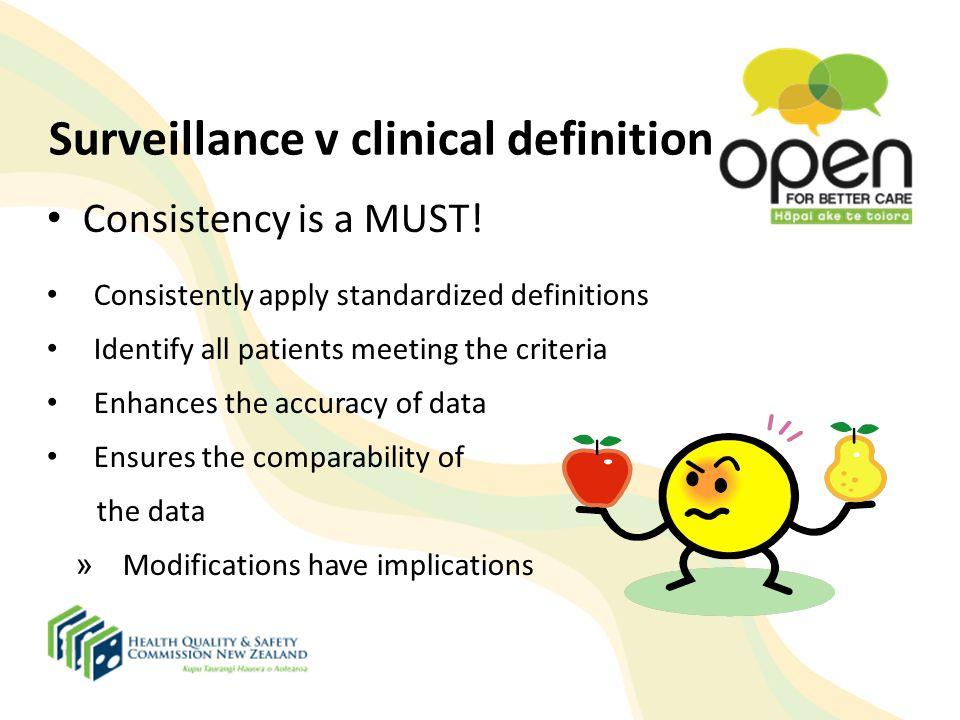 Surveillance v clinical definition