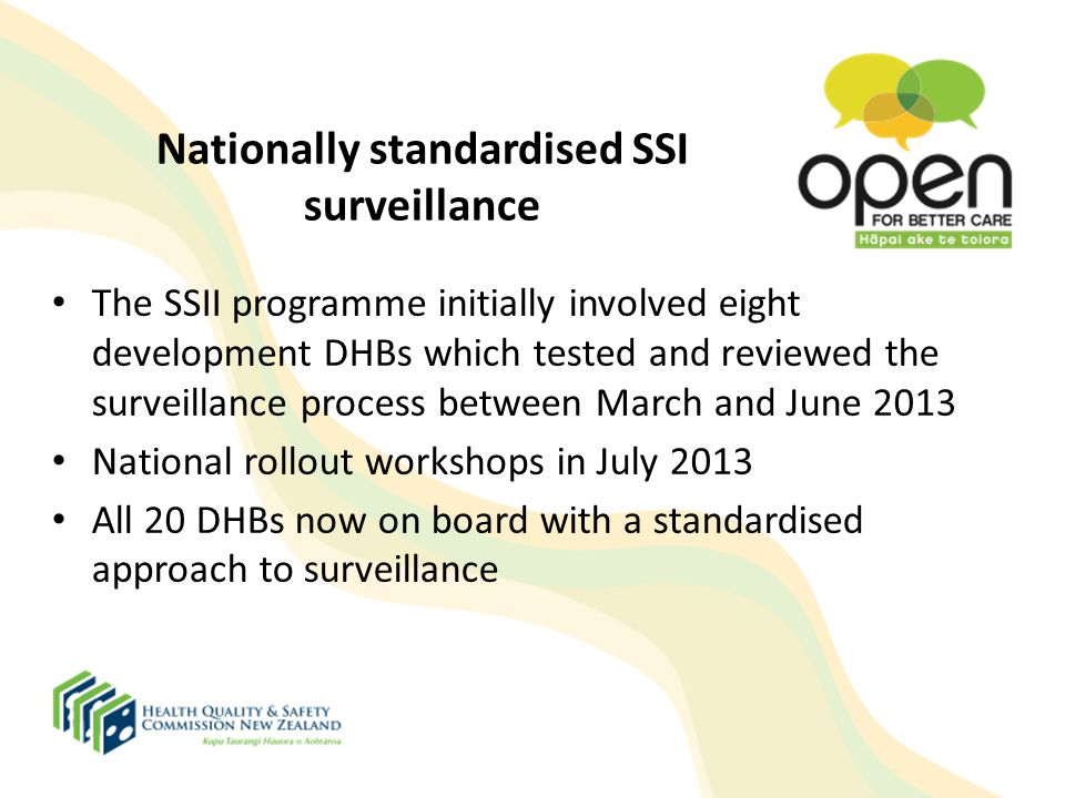 Nationally standardised SSI surveillance