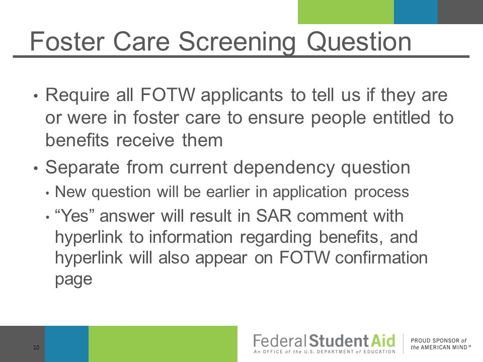 Foster Care Screening Question