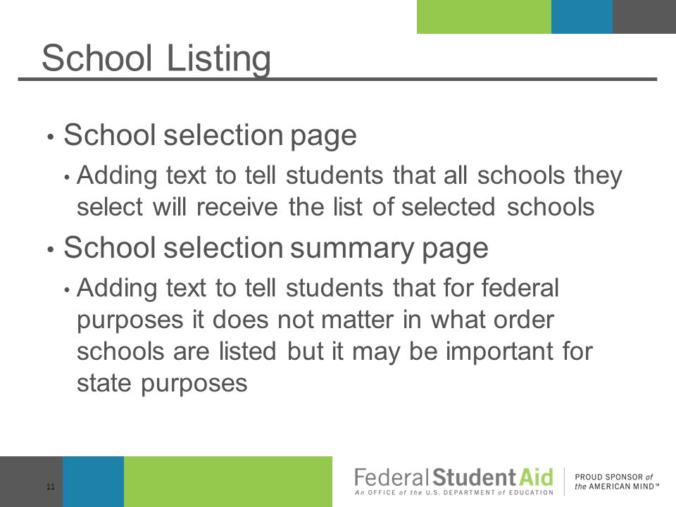 School Listing School selection page School selection summary page