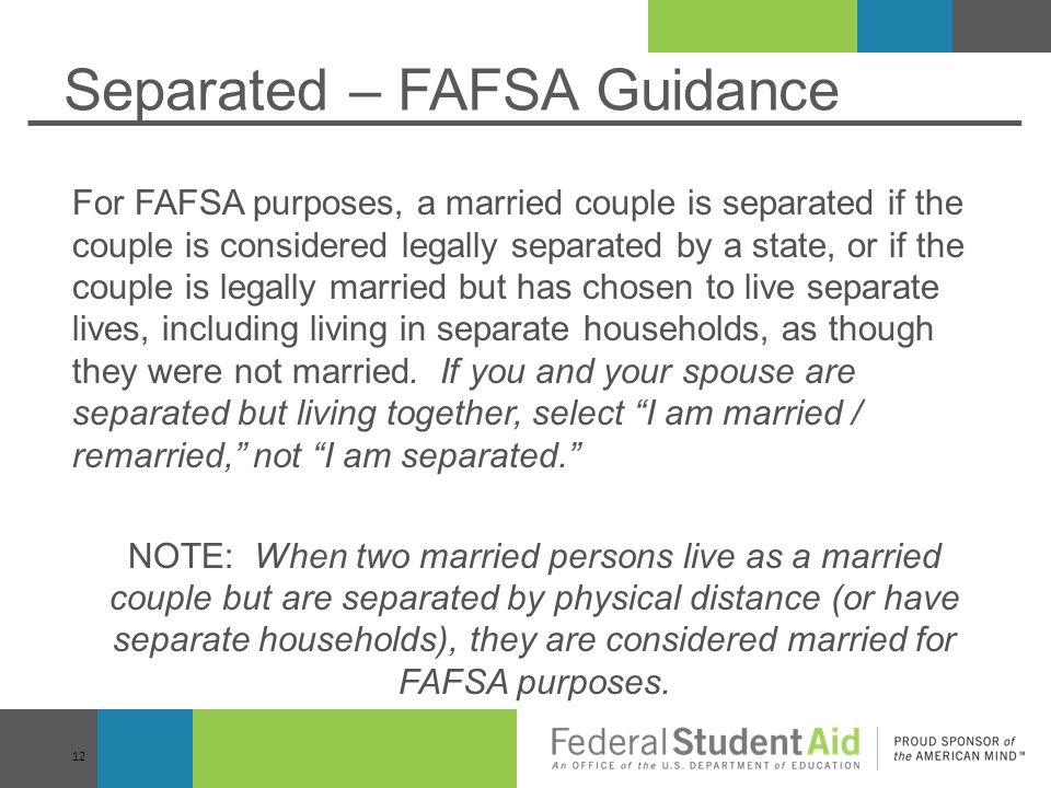 Separated – FAFSA Guidance