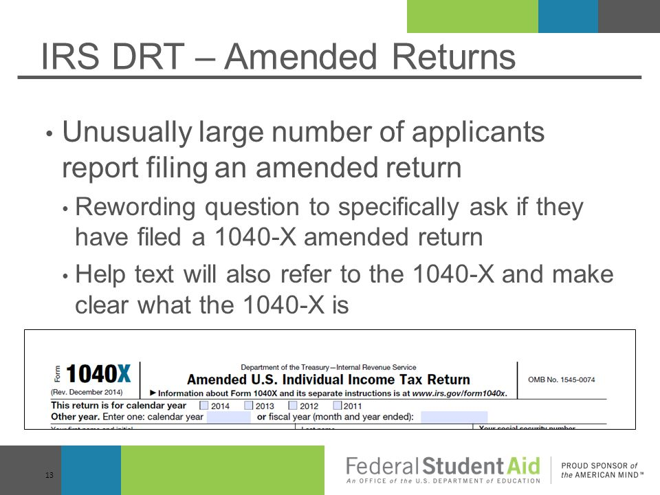 IRS DRT – Amended Returns