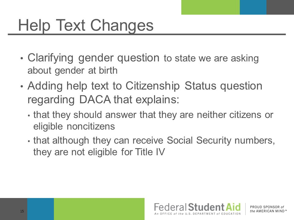 Help Text Changes Clarifying gender question to state we are asking about gender at birth.