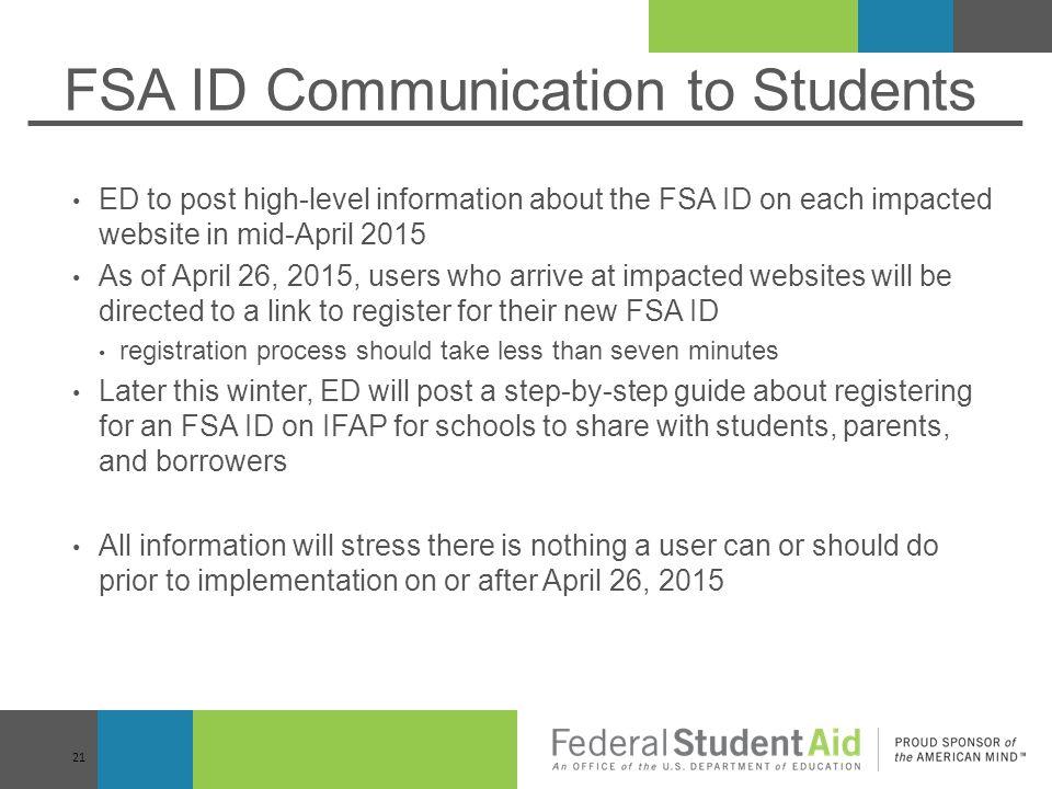 FSA ID Communication to Students